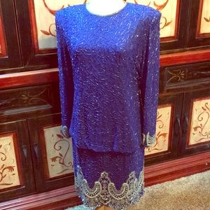 Brilliante by JA cobalt beaded vintage dress